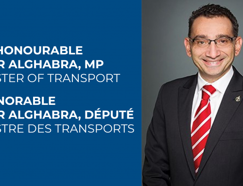 Letter sent to the new Minister of Transport the Honorable Omar Alghabra